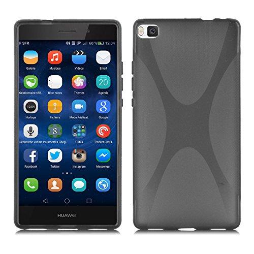 Preisvergleich Produktbild Cadorabo Hülle für Huawei P8 Hülle in Handyhülle aus flexiblem TPU Silikon im X-Line Design Silikonhülle Schutzhülle Soft Back Cover Case Bumper Oxid Schwarz