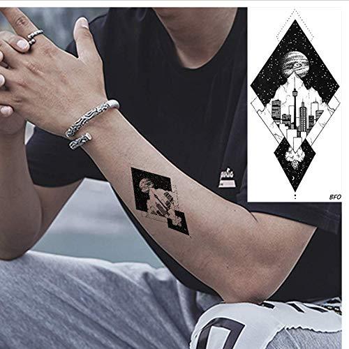 ruofengpuzi wasserdichte Geometrische Stadt Planet Arm Männer Tattoo Aufkleber Damen Brust Schwarz Custom Tattoo Aufkleber Temporäre Gefälschte Handgelenk Kunst Tattoo