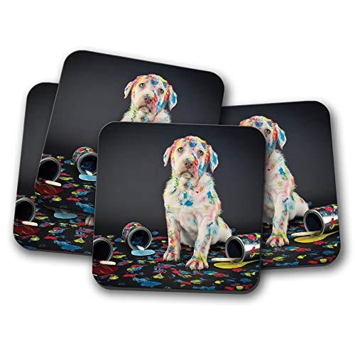 (4er-Set – Naughty Puppy Untersetzer – Labrador Hund lustig Kinder niedliche Farbe Geschenk #15603)