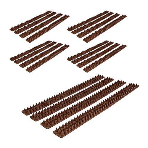 Relaxdays 20x Vogelabwehr, je 49 cm, mit Spikes, Gesamtlänge 10 m, witterungsresistent, Tierabwehr für Zäune & Mauern, Dunkelbraun
