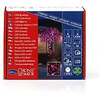 Konstsmide 3627-340 Micro LED Lichterkette / für Außen (IP44) /  24V Außentrafo / 40 pinke Dioden / schwarzes Kabel