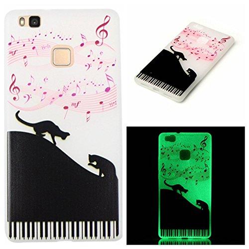 Voguecase® Per Apple iPhone 5 5G 5S, Custodia Silicone Morbido Flessibile TPU Custodia Case Cover Protettivo Skin Caso (Nero - unicorno) Con Stilo Penna pianoforte gatto