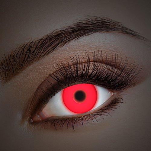 ontaktlinsen farbig-e Jahreslinsen ohne Stärke Halloween Fasching UV schwarzlicht rot neon (Neon Farbige Halloween Kostüme)