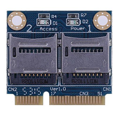 amazingdeal Mini PCIe Memory Card Adapter PCI-E auf Dual TF SDHC SDXC Kartenleser Konverter (Pci-e Card Reader)
