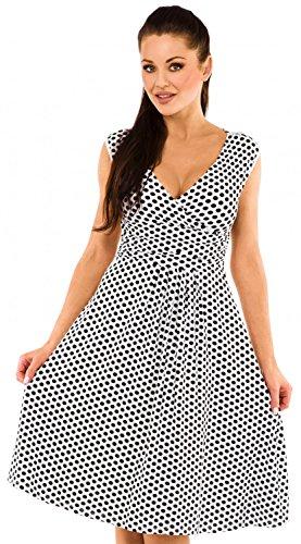 Zeta Ville - Robe trapèze imprimé à pois sans manches cache-coeur - femme - 110z Blanc à pois