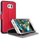 Samsung S6 Tasche, Terrapin Leder Tasche Case Hülle im Bookstyle mit Standfunktion Kartenfächer für Samsung Galaxy S6 Hülle Rot
