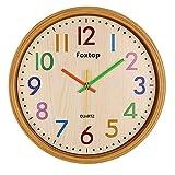 Foxtop 13 Zoll Bunte Wanduhr Große dekorative Weinlese -runde Land-Style Stille Nicht tickt Imitation-Wood-Uhren