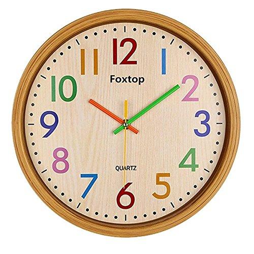 foxtop-125-pouces-33cm-imitation-bois-grain-silent-non-tic-tac-decoration-murale-decoration-pour-la-