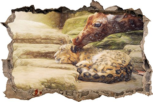stuffed-santander-leopard-and-giraffe-art-crayon-effect-wall-breakthrough-in-3d-look-wall-or-door-st