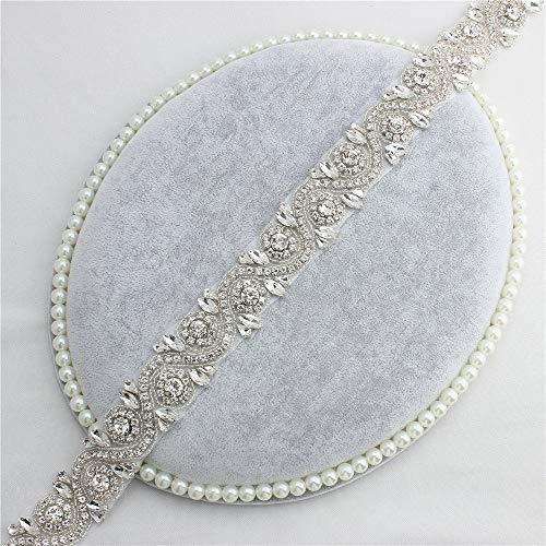 Gold / Sliver Strass Stoff Trimmen Lange Kristall Gürtel für Brautkleider ()