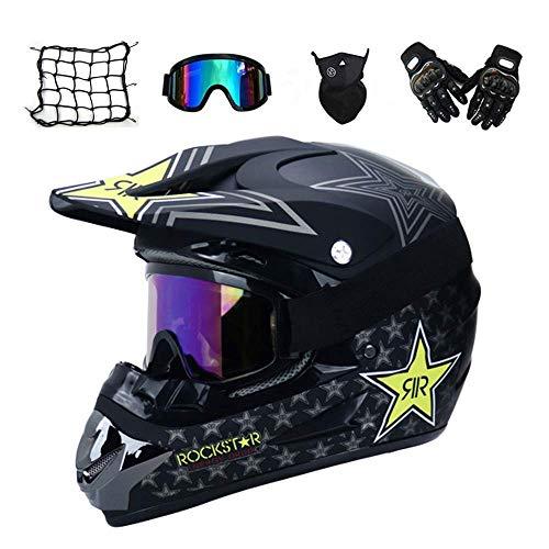 Motorrad Crosshelm mit Brille (5 Stück) - Schwarz/Rock Star - Erwachsener Motocrosshelm Erwachsener Offroad-Integralhelm Mountainbike Helm Fahrradhelm Herren Sicherheitsschutz motorradhelm,S