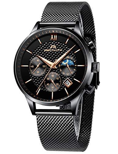 Herren Uhren Männer Militär Sport Wasserdicht Chronograph Schwarz Edelstahl Mesh Armbanduhr Mann Mode Leuchtende Datum Analoge Uhr