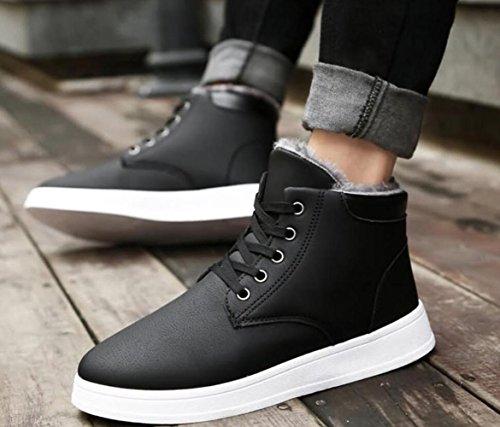 Baskets D'hiver Rdjm Pour Hommes Chaussures De Foot Plus En Cachemire Chaud Noir