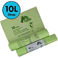 10 Litre x 100 bags Compostable Caddy Liners 10L Kitchen - Food Waste Bin Liners - EN 13432 - Compost Bags