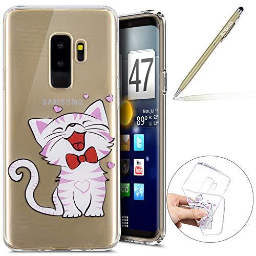 Herbests Handy Tasche für Samsung Galaxy S9 Plus Silikon Hülle Durchsichtige Schutzhülle Crystal Clear Transparent Ultra Dünn Handyhülle Silikonhülle Kristall Klar TPU Bumper,Niedlich Katze