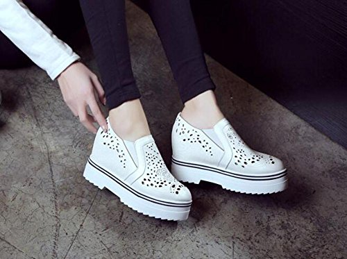 PBXP Loafers Büros Hollow Elevator Plattform Schuhe Round-toe Frauen Casual Hochzeit Vintage Schuhe Europa Größe innerhalb Customized Biger Größe 34-43 White