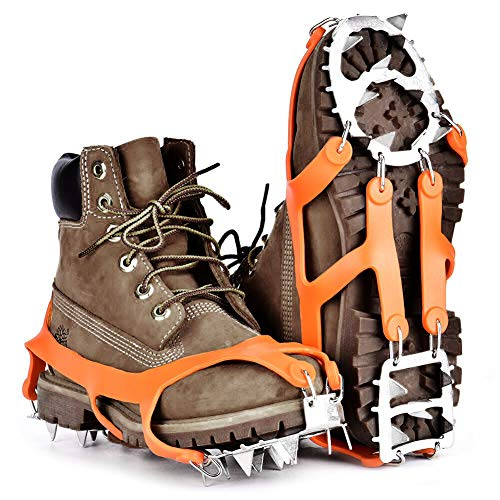 4ac64efdbe0cc Ice Snow Grips for Shoes,Walk Traction Ice Cleat,18 Teeth Claws Stainless  Steel Chain for hiking,jogging,climbing on snow,ice,mud and wet grass.