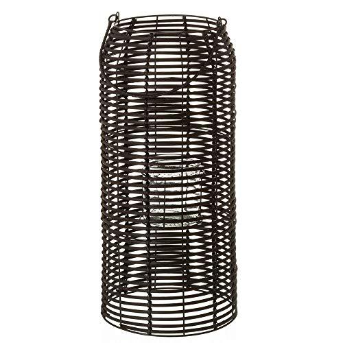 LOLAhome Farol exótico portavelas Negro de Rattan de 23x50 cm