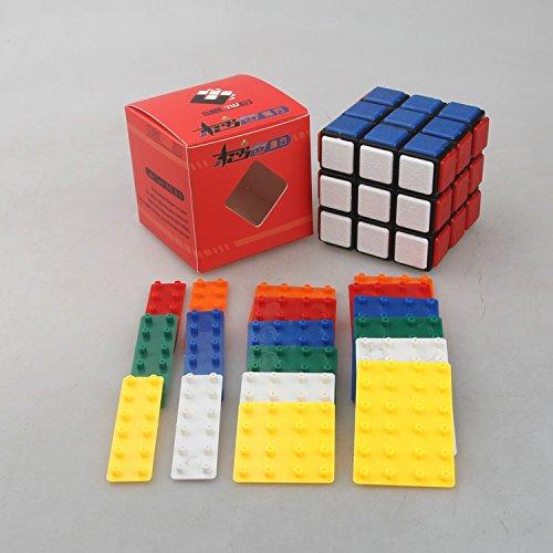 Zantec 3x3x3 DIY Bandaged Cube Black Magic Cube mit 72Pcs Kunststoff Farbe Aufkleber Gehirn Teaser Puzzle Cube für Magic Cube Lovers - 3 X 3 Mini