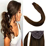 LaaVoo 22 Pouces #4 Dark Brown Extensiones de Queue de Cheval Droit Doux des Cheveux Humains Remy Brazilian Unprocessed Human Hair Wrap Around Ponytail 100g