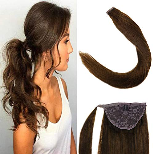 LaaVoo 14zoll 100% Remy Echthaar Extensions Clip in Zopf Easy Fit Haarteil Schokoladenbraun #4 80Gramm/Paket Clip in Haarverlangerung Set Glatt