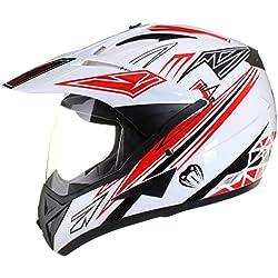 Casco protector con doble visera MX - Para motocross / todoterreno / enduro / MX / cicloturismo - Rojo - S (55-56 cm)