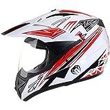 Casco protector con doble visera MX - Para motocross / todoterreno / enduro / MX / cicloturismo - Rojo - XL (61-62 cm)