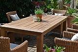 bomey Teak Sitzgruppe Garten Garnitur Tisch (200x100) und 6 Sessel/Stühle Rattan und recyceltes Teak Java 6