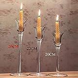 WDDqzf 3pcs Vetro Colum Candle Stand Supporto di Candela di Cristallo Moderno per centrotavola Matrimonio Candelabri Candela di Cristallo Ciotola Candlestick, A