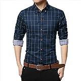 Men's Button Down Shirts,Men Pure Cotton Shirt Mercerized Slim Fit Long Sleeve Plaid Business Checked Casual Dress Turn-Down Collar Dress Shirt Suit British Stylish Blue