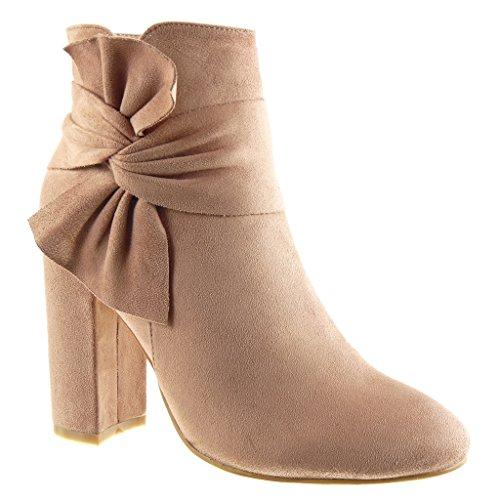 Angkorly - Damen Schuhe Stiefeletten - Reitstiefel - Kavalier - Knoten Blockabsatz high Heel 10 cm - Rosa LL686 T 36