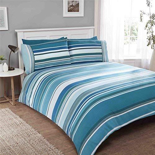 Rayé Sarcelle 100% Coton Brossé Simple (Uni Oeufs de Canard Bleu Drap Housse - 91 X 191cm + 25) 3 Pièces Ensemble de Literie