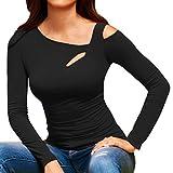 Damen Kaltes Schulter-Sweatshirt mit Langen Ärmeln Pullover Tops Lässige kalte Schulter Tops Langarm T-Shirt EVA (Schwarz, S)