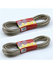 WASHMATE PVC Coated Steel Anti-Rust Wire Rope Washing Line Clothesline (Multicolour, 10m) - Pack of 2