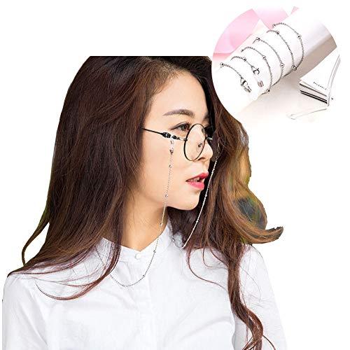 Tancurry Edel Einfacher Stil Brille Halter Brillenkette Edelstahl Modeschmuck Halsketten (Silber)