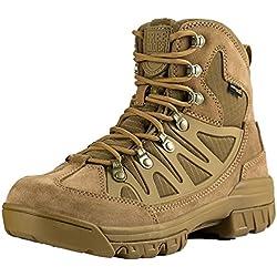 FREE SOLDIER ligero de seguridad botas de trabajo transpirable bajo la parte superior militar de cadetes táctico senderismo deportes al aire libre Camping zapatos de piel (Marrón 43)