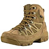 FREE SOLDIER Lightweight Breathable Safety Work Boots Tactical Cadet Low Top Military Hiking Outdoor Sports Camping Leather Shoes(Brown UK7)