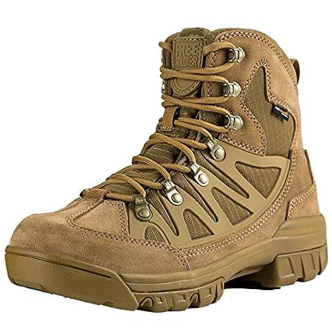 FREE SOLDIER leicht atmungsaktiv Sicherheit Arbeit Stiefel Tactical Cadet Low Top Military Wandern Outdoor Camping Leder Schuhe, Herren (Braun (Chelsea Girls Schuhe)