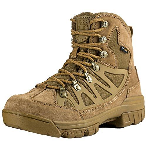 FREE SOLDIER leicht atmungsaktiv Sicherheit Arbeit Stiefel Tactical Cadet Low Top Military Wandern Outdoor Camping Leder Schuhe, Herren (Braun 41) Herren Military Fashion Stiefel