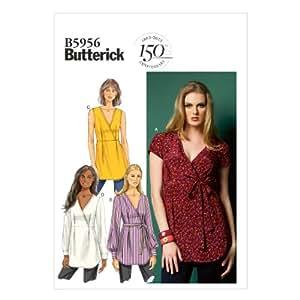 Butterick Patterns B5956 A5 Patron de couture Haut et ceinture pour femme Blanc
