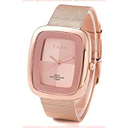 QBD Womens Luxury 3ATM Waterproof Japanese quartz Movement Mesh Steel Strap Rose Gold Watch FREE luxury gift box