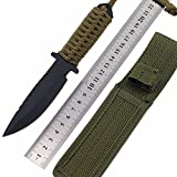 #10: High Quality Fixed Blade Combat Tactical Knife for Outdoor Camping Survivor - Hunting - with Nylon Sheath Cover (1pc)