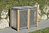 Alu / Holz Mülltonnenbox Kirchdorf für 2 x Mülltonnen 240 Liter