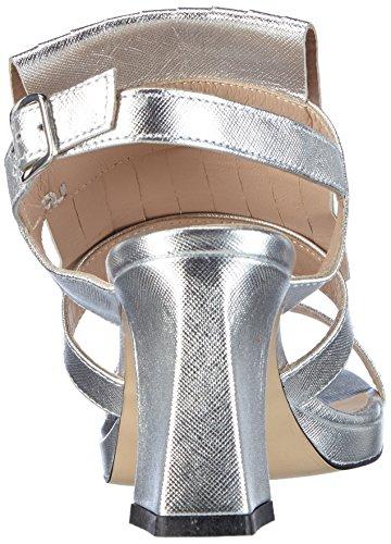 Lea Foscati - Montecarlo, Scarpe col tacco con cinturino a T Donna Argento (Silber (ARGENTO+ARGENTO))