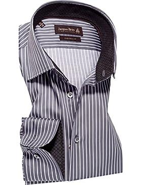 Jacques Britt Herren Hemd Baumwolle & Mix Oberhemd Gestreift, Größe: 38, Farbe: Grau