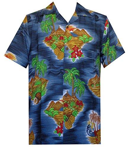 Hawaiian Shirt Herren Scenic Blume Print Strand Aloha Party Urlaub Camp Gr. XXX-Large, schwarz (4 Hawaii-hemden X)