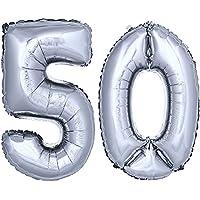 DekoRex® número globo decoración cumpleaños brillante para aire en argentado 40cm de alto No. 50