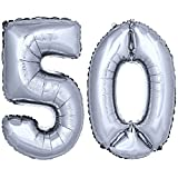 DekoRex ® Folienballon Zahlenballon Luftballon Geburtstag Deko 40cm Silber Zahl: 50