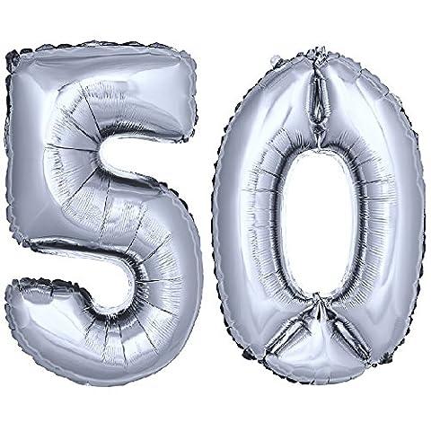 DEKOREX ® Ballon gonflable Ballon feuille de 80cm ballon d'hélium Ballon Anniversaire Décoration numéro argent No