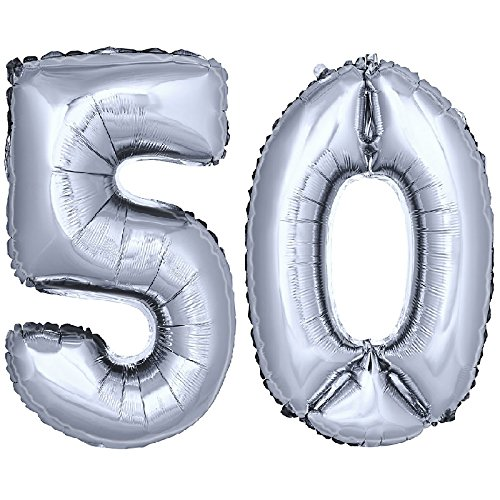 lon Zahlenballon Luftballon Geburtstag Deko 40cm Silber Zahl: 50 (Nummer 50 Ballons)